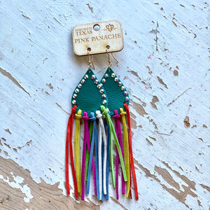 Pink Panache Turquoise Multi Color Fringe Earrings