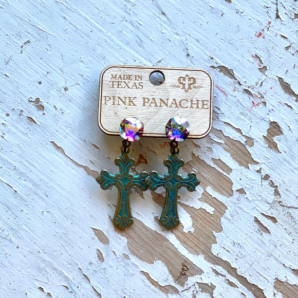 Pink Panache Turquoise Cross Earrings
