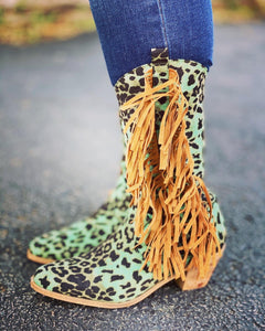 Fringe and Turquoise Leopard Cowboy Boots by L&B