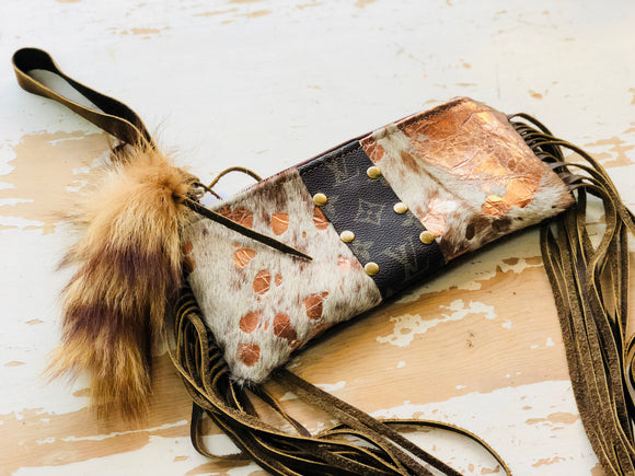 Keep It Gypsy Cowhide LV Accent Wristlet
