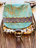 Keep It Gypsy Gold Leopard and Turquoise Leather LV Accent Cross Body Bag