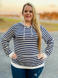 Navy and White Women's Hoodie