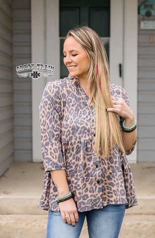 Lindsey Leopard Button Up by Crazy Train