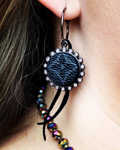 Black Round Pendant LV Accent Earrings