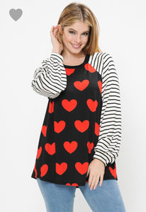 Stripe Sleeve and Heart Womens Top