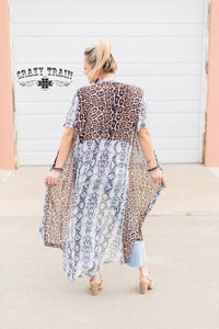 Leopard and Snake Print Duster By Crazy Train