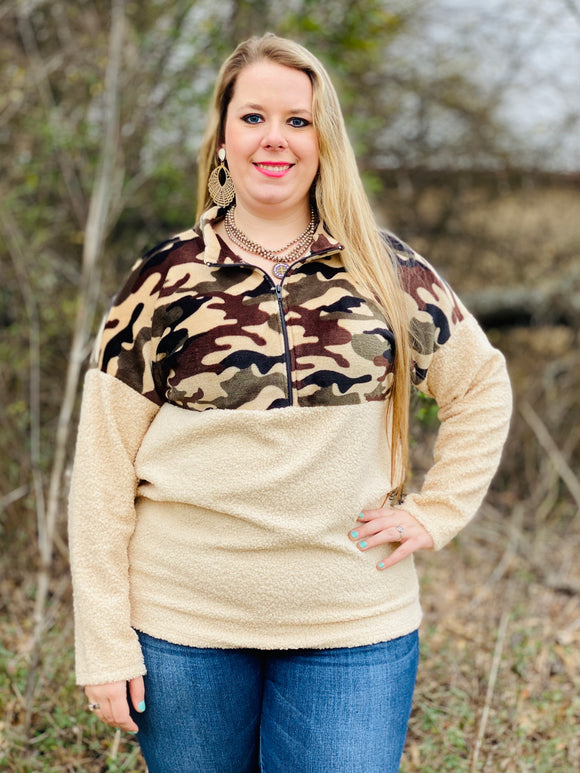 Hunting Mr. Right Camouflage Sherpa Pullover