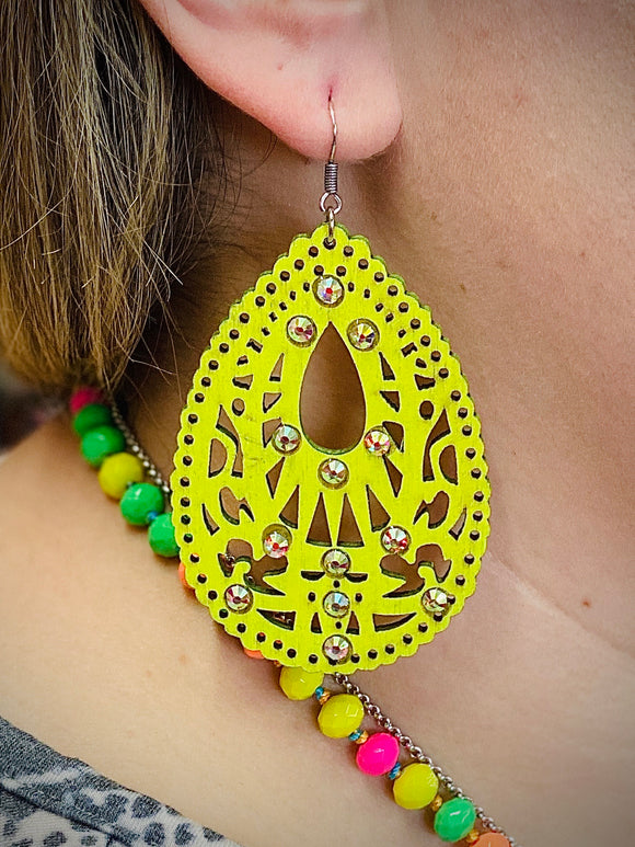 Highlighter Yellow Josie Earrings by Sagebrush Sally's