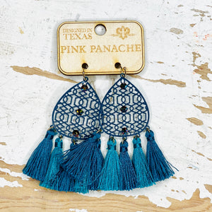 Turquoise Tassel Drop Pink Panache Earrings