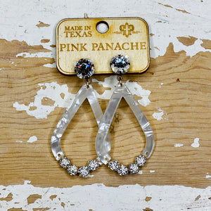 Marbled White and Crystal Pink Panache Earrings