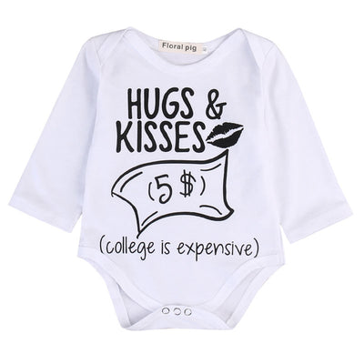 Newborn Baby boys Girls Funny Letter Hug Kiss Bodysuits onesie Infant Babies Kids Cute Bodysuit one-pieces Outfits Kids Clothing - Babies One