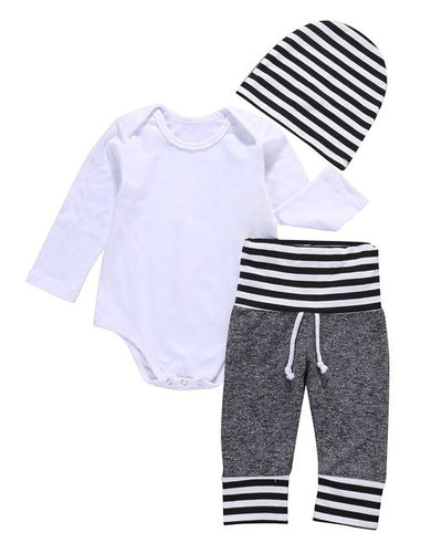 3 Pcs Newborn Toddler Kids Baby Boys Outfit Clothes Solid White Bodysuit Onesie+ Pants+Hat  Set Clothing - Babies One