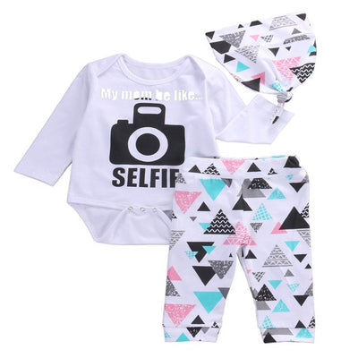 3 Pcs Newborn Baby Boy Girl Selfie Camera Clothing Set Infant Babies Bodysuit Onesie+Hat+Triangle Blocks Long Pants+Hat 3pcs Set - Babies One