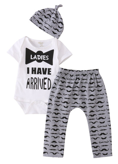 3 Pcs Newborn Kids Baby Boy Bowtie Outfit Set Infant Babies Moustache Bodysuit Onesie Tops+Pants+Hat Xmas Outfits Set Clothing - Babies One