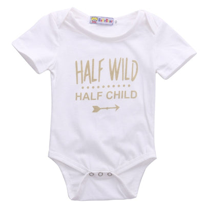 Half Wild Newborn Baby boys girls letter Bodysuits onesie Infant Babies Boy Girl Cute Cotton Bodysuit one-piece Outfits Clothing - Babies One