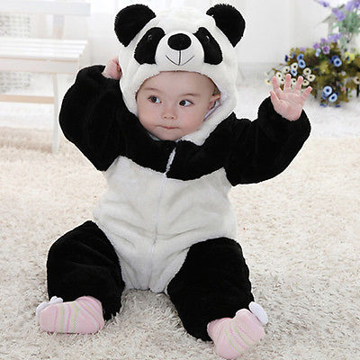 Baby Kid Toddler Newborn Boy Panda Animal Onesie Hooded Zipper Romper Jumpsuit Outfit Costume 0-3Y - Babies One