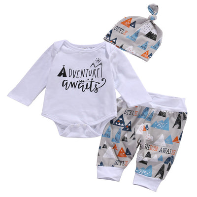 3 Pcs Toddler Baby Boys Clothing Sets  Infant Babies Letter Bodysuits onesie+Color Blocks Pants +Beanie Hat Outfits Set Clothes - Babies One