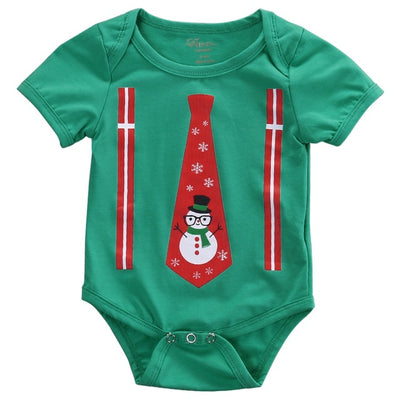 Newborn Infant Baby Boys Girls Xmas Bodysuits Onesie 2 Colors Babies Kids Tie Snowman Bodysuit Jumpsuit Playsuit Outfit Clothing - Babies One