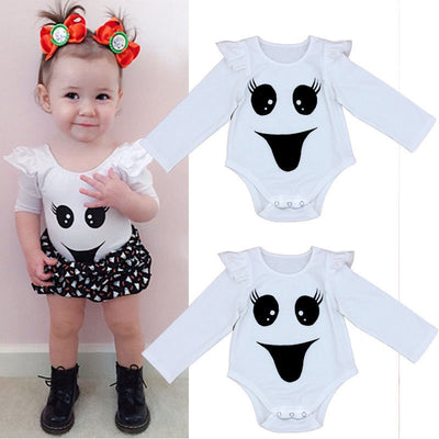 Newborn Infant Baby Girl Bodysuit Smiling Face Bodysuits Onesie Babies Girls Flying Sleeve Jumpsuit Outfits Clothes - Babies One