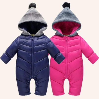 BibiCola Newborn Baby Rompers Winter Thick Cotton Boys Costume Girls Warm Clothes Kid Jumpsuit Children Outerwear Baby Wear - Babies One