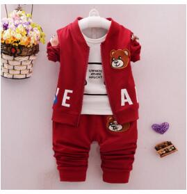 BibiCola Children Kids Boys Clothing Set Baby Boys Spring Autumn 3PCS Sets Cartoon Bear Coat+Pants Sport Suits Baby Boys Clothes - Babies One