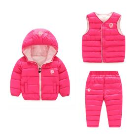 BibiCola 3PCS Winter Girls Boys Clothing Sets Children Down Cotton-padded Coat+Vest+Pants Set Kids Warm Parkas Outdoor Suits - Babies One