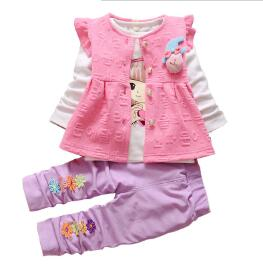 BibiCola Autumn Girls Clothing set 3pcs set baby girls Floral casual cotton sport suit Long sleeve Vest+T-shirt+pant tracksuits - Babies One