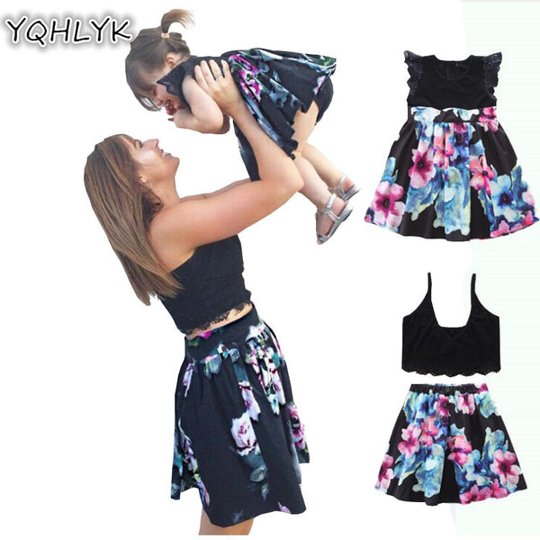 476a058b6 2018 New Summer Mother and Daughter Family Matching Outfits Mom printing  sexy suit and Baby Girl Dresses W216 2018 New Summer Mother and Daughter  Family ...