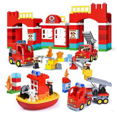 Diy Big Size City Fire Department Firemen Building Blocks Compatible With Legoingly Duplo Bricks Hobbies Toys For Baby Children - Babies One