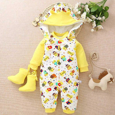 BibiCola Newborn jumpsuit Clothing Baby Boys Girls Winter Rompers Jumpsuit Clothes Toddler Infant Hooded Thick Warm Outfits - Babies One