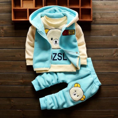 BibiCola autumn winter girls clothes sets 3pcs cartoon hooded bear suits casual outerwear hoodies clothes girls sport outfits - Babies One