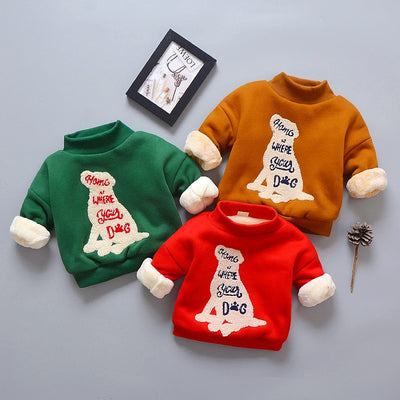 BibiCola winter children sweatshirts clothing kids boys cartoon thick warm velvet hoodies outfits baby boys girls outwear coat - Babies One