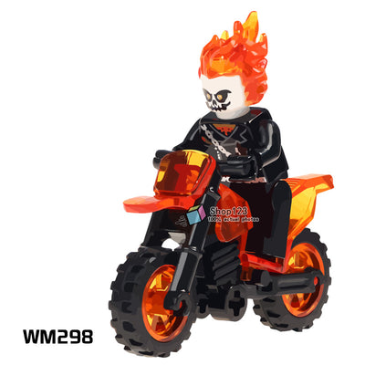 Single Building Blocks Ghost Rider With Motorcycle Super Heroes Model Action Bricks Dolls Kids DIY Toys Hobbies WM298 Figures - Babies One