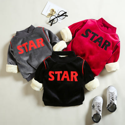 BibiCola boys sweatshirts winter kids boys thick warm clothing children outwear coat star letters velvet pullovers tops hoodies - Babies One