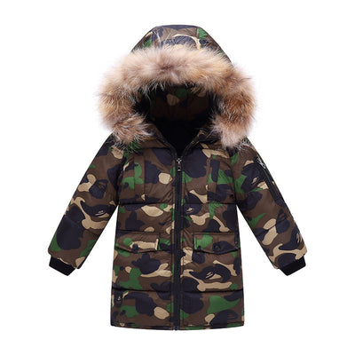 winter children boys jackets kids boys Camouflage down parkas hooded fur coat outwear for children boys winter snowsuit outfits - Babies One