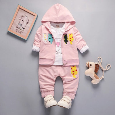 BibiCola Girls Clothing Sets Spring Autumn Children Girls Hoodies Clothes Suit 3pcs Tracksuit for Baby Girls Outfits Sports Suit - Babies One