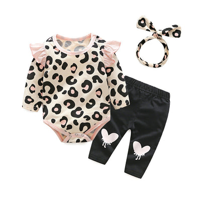 Baby Girls Clothing Sets Casual Infant Girls Clothes Cotton Long Sleeve Rompers Trousers Headband 3pcs Babies Princess Suits - Babies One