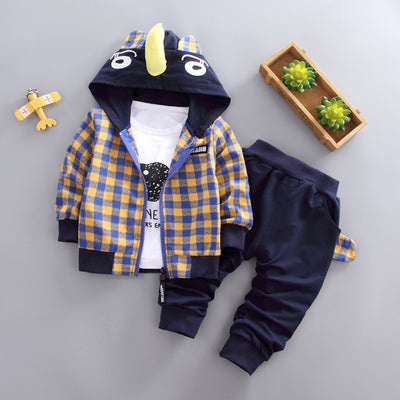 BibiCola autumn baby boys clothing set infant chidlren cartoon 3pcs suit toddle cotton plaid hoodies sweatershirt tracksuit set - Babies One