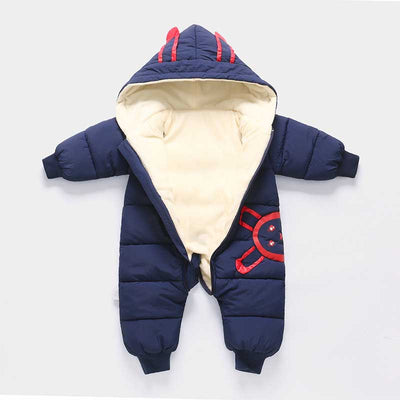 BibiCola newborn baby rompers winter infant bebe boys girls thick warm rompers jumpsuit clothes hooded velvet baby showsuit - Babies One
