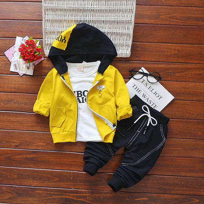 BibiCola spring autumn boys clothing sets cotton sport suits 3PCS boys hoodies coat casual high quality suits boys outerwear set - Babies One