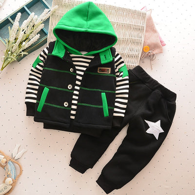 BibiCola winter boys clothing sets 3pcs children boys casual thicken uniform kids fashion velvet sports suits warm outerwear - Babies One