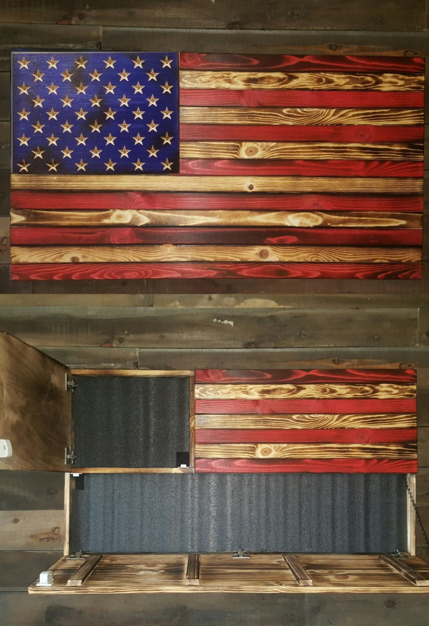 Burnt American Red, Wood and Blue Large Concealment Flag with Carved Stars