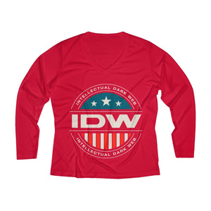 Women's Long Sleeve Performance V-neck Tee - IDW Badge - Color - White Border