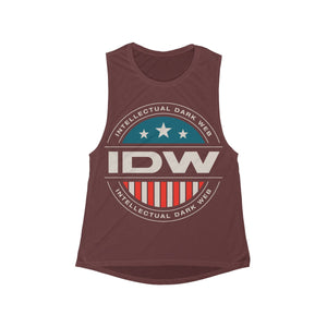Women's Flowy Scoop Muscle Tank - IDW Badge - Color - White Border