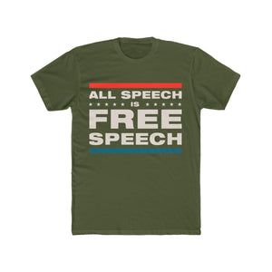 Men's Cotton Crew Tee - All Speech Is Free Speech