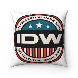 Faux Suede Square Pillow - IDW Badge - Color - Red Border