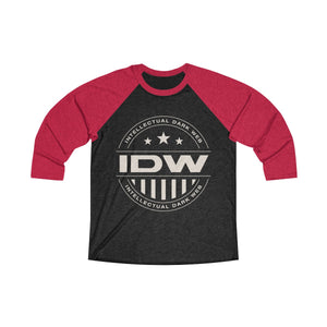 Unisex Tri-Blend 3/4 Raglan Tee - IDW Badge - Grey