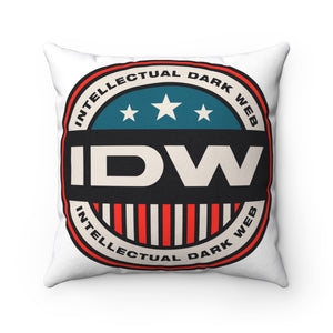 Spun Polyester Square Pillow - IDW Badge - Color - Red Border