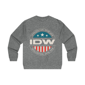 Men's Midweight Crewneck Sweatshirt - IDW Badge - Color - White Border