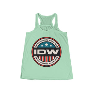 Women's Flowy Racerback Tank - IDW Badge - Color - Red Border